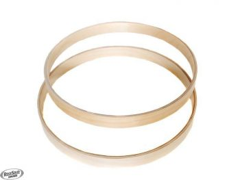 """Pair of 16"""" Wooden Bass Drum Hoops - 100% Birch - Natural Finish"""
